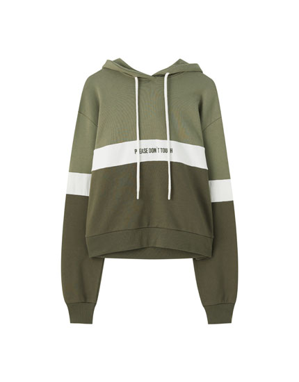 Colour block hoodie with contrast slogan