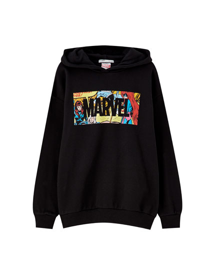 Black Marvel hoodie with logo