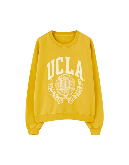 Sweat UCLA x Pull&Bear jaune moutarde