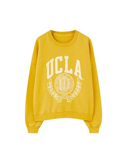 Μουσταρδί φούτερ UCLA x Pull&Bear