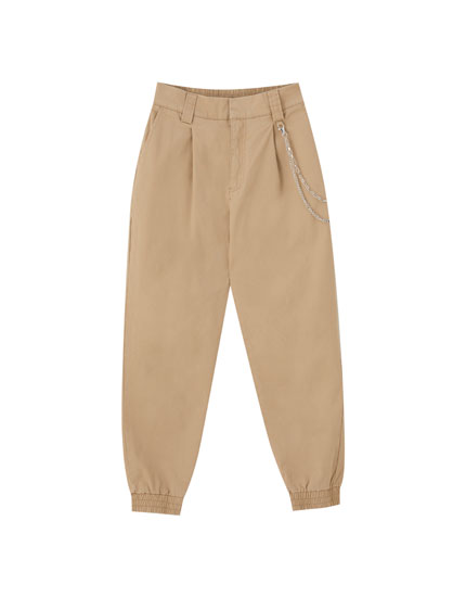 Basic cargo trousers with chain detail