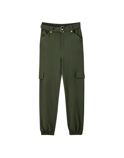 Khaki cargo trousers with belt