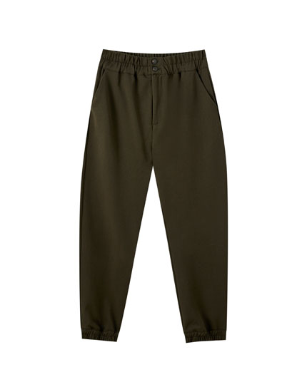 Jogging trousers with a wide elastic waistband