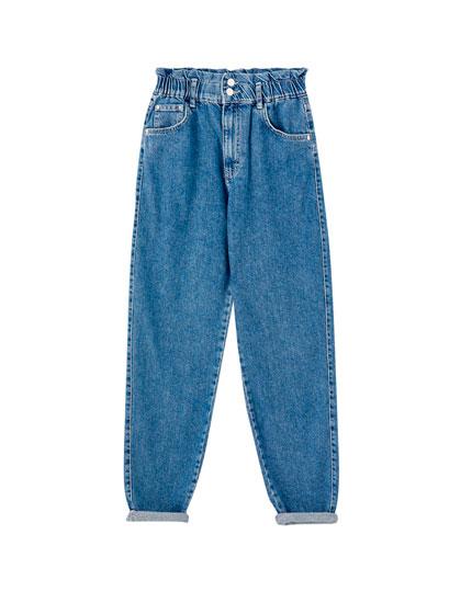 Jeans slouchy goma cintura