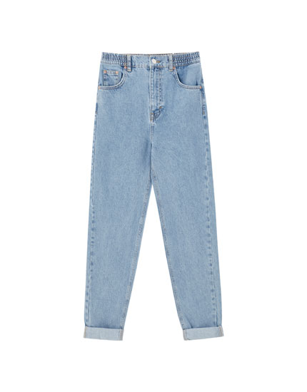 Cotton mom jeans with elastic waistband