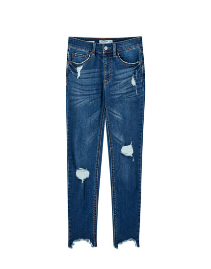 Jean skinny déchiré taille moyenne