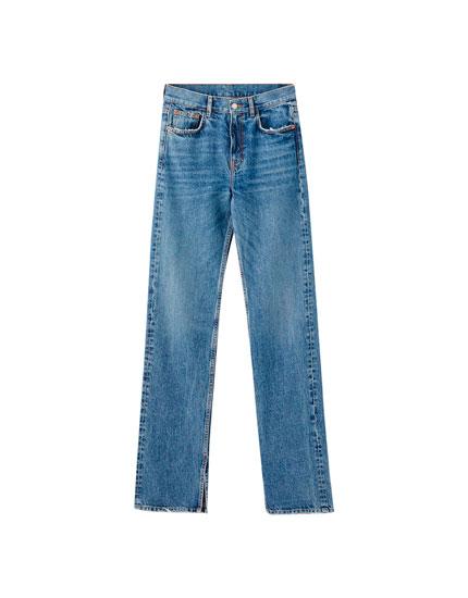 Jeans mit hohem Bund und Schlitzen