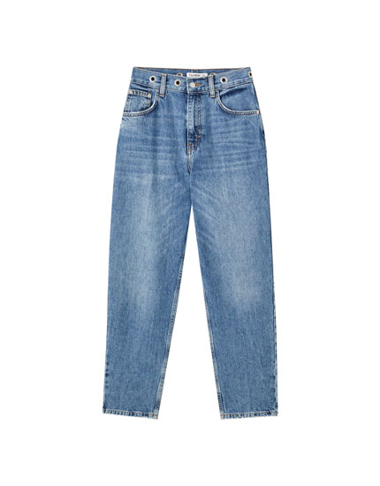 Jeans regular œillets