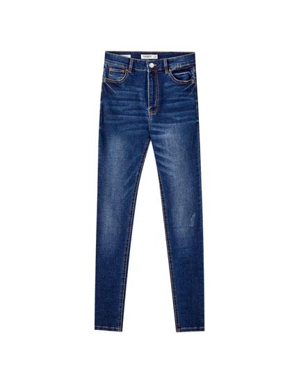 Basic skinny fit jeans met hoge taille