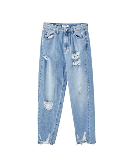 Mom jeans with rip detail