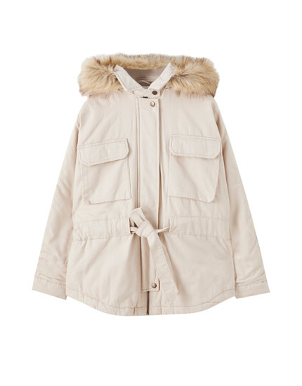 Worker-style drawstring puffer jacket