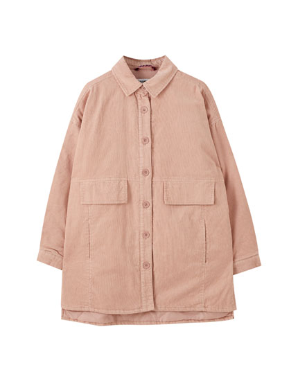 Corduroy jacket with flap pockets