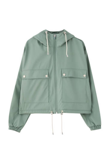 Short mint green raincoat