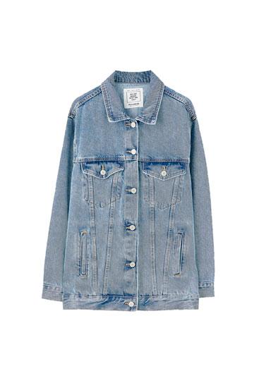 Oversized blue denim jacket
