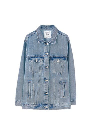 Oversized blue denim jacket
