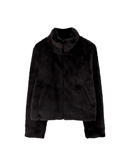 Oversize faux fur jacket with a high collar