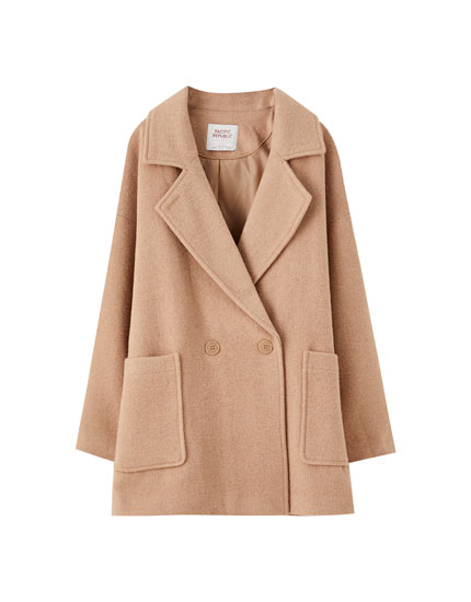 Wool blend coat with front pockets