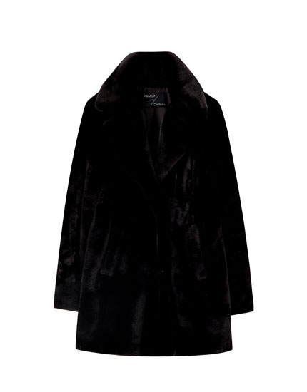 Classic black faux fur coat
