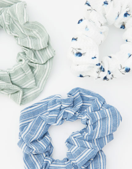 Pack of 3 striped and floral scrunchies