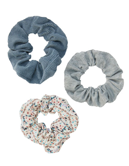 3-pack of corduroy and floral print scrunchies
