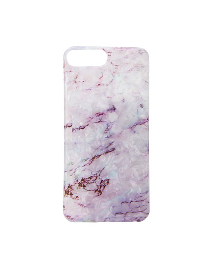 Marble-effect lilac smartphone case