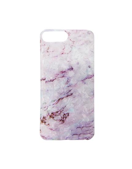 Coque smartphone marbrée lilas