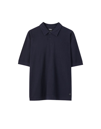Ribbed blue oversize polo shirt