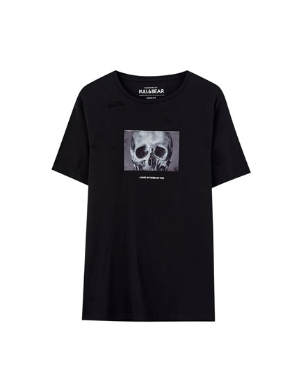 Black skull illustration T-shirt