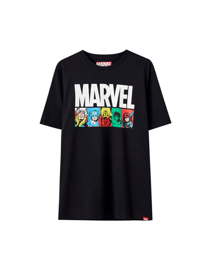 Black T-shirt with Marvel characters
