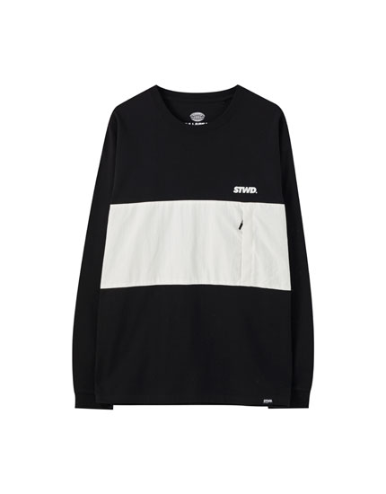 Black contrast panel T-shirt