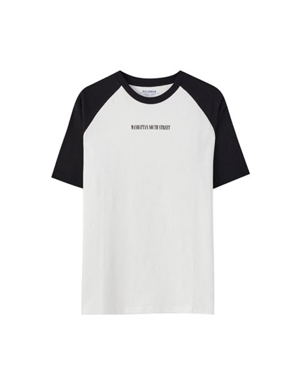 T-shirt inscription manches contrastantes