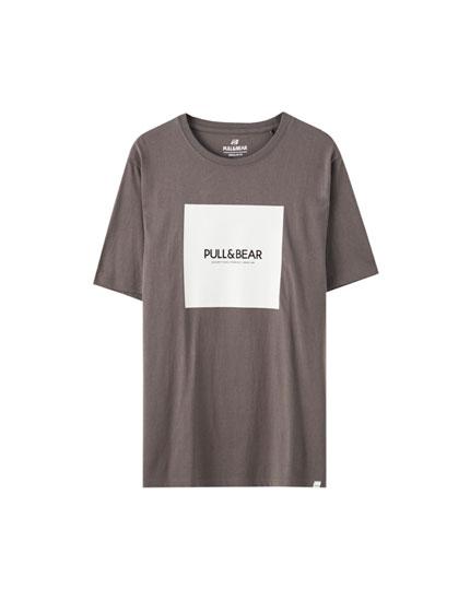 Basic T-shirt with square logo print