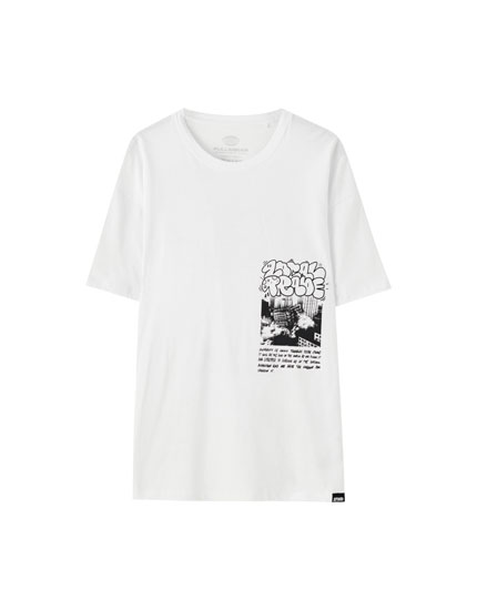 White T-shirt with contrast graffiti print