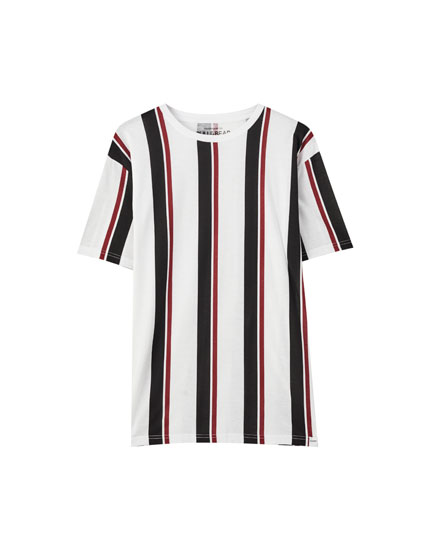 Basic short sleeve striped T-shirt