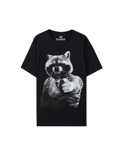 Playera estampado animal cuerpo humano
