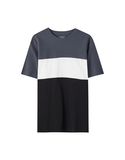 Textured colour block T-shirt with slits