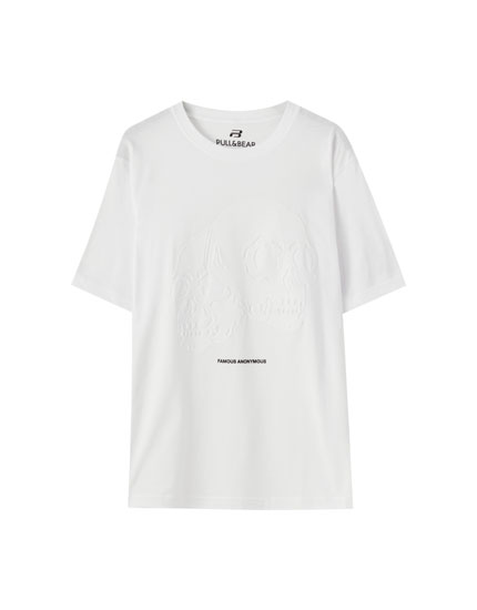 White T-shirt with double skull print