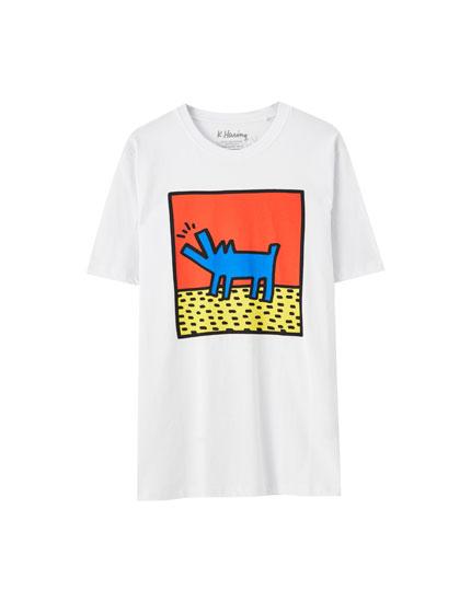 Haring dog print T-shirt