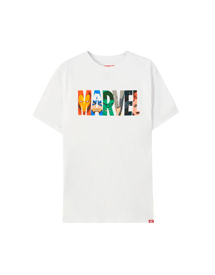 White Marvel logo T-shirt