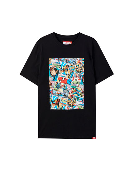 Black T-shirt with Marvel comic characters