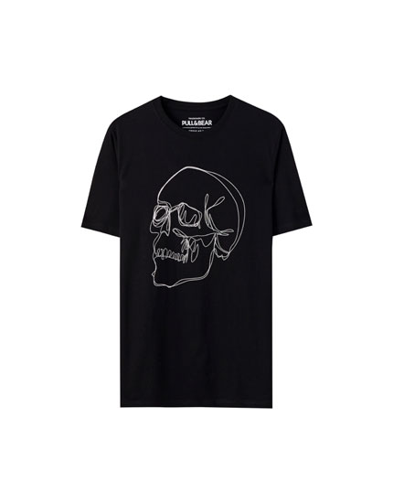 Black T-shirt with skull line illustration
