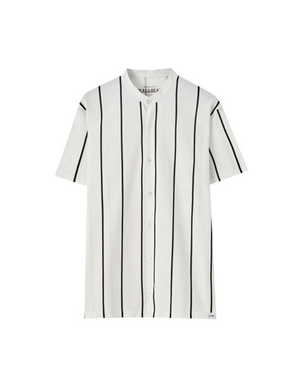 Chemise col mao rayures verticales