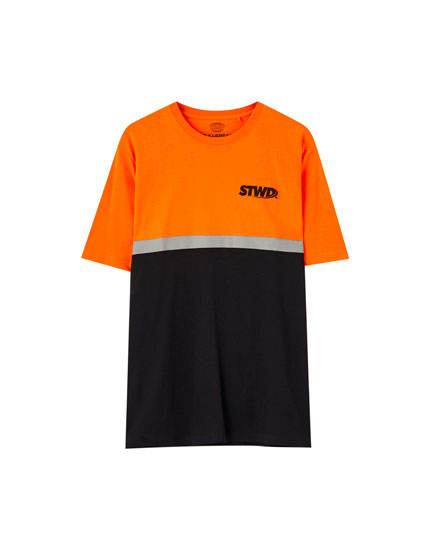 Playera naranja banda reflectante