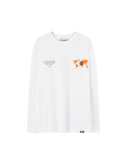 White T-shirt with world illustration