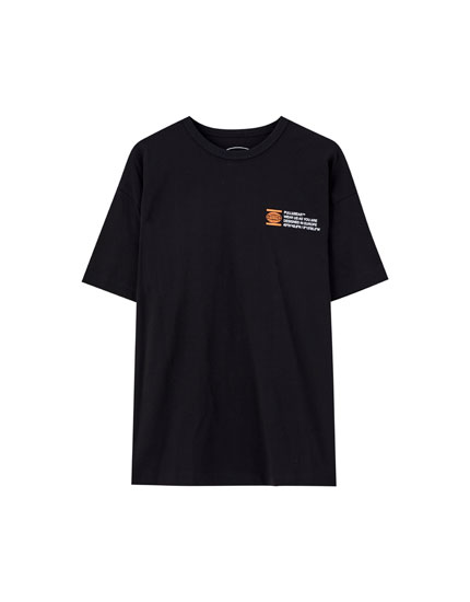 Black T-shirt with contrast slogan