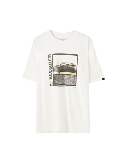 White T-shirt with 'Blurred' illustration