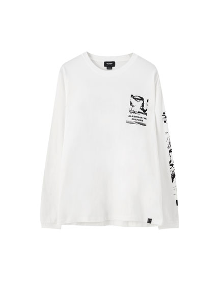 White T-shirt with contrast print