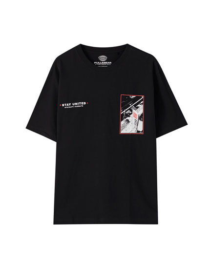 Black 'Stay united' T-shirt