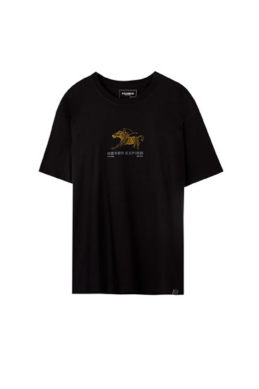 Black T-shirt with a zebra illustration
