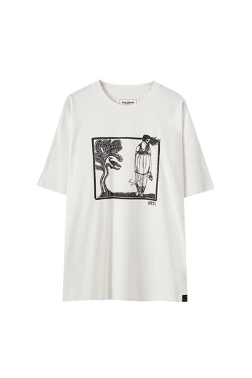 White T-shirt with woman and tree illustration